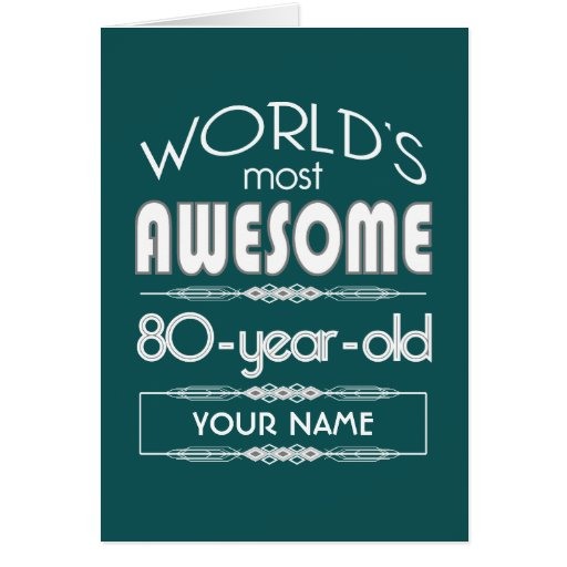 80th Birthday Worlds Best Fabulous Dark Green Greeting Cards