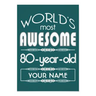 80th Birthday Worlds Best Fabulous Dark Green 13 Cm X 18 Cm Invitation Card