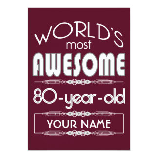 80th Birthday Worlds Best Fabulous Dark Red 13 Cm X 18 Cm Invitation Card