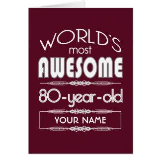 80th Birthday Worlds Best Fabulous Dark Red Card