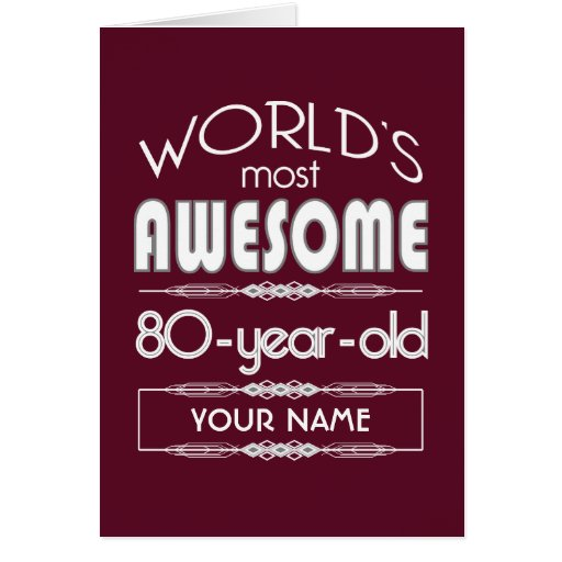 80th Birthday Worlds Best Fabulous Dark Red Greeting Card