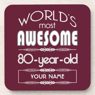 80th Birthday Worlds Best Fabulous Dark Red Drink Coaster