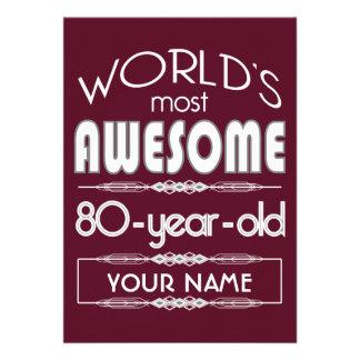80th Birthday Worlds Best Fabulous Dark Red Personalized Invitations