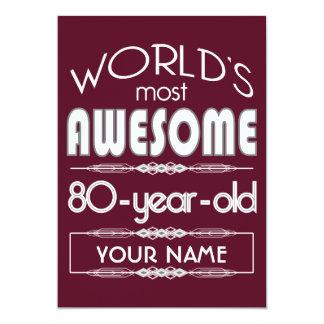 "80th Birthday Worlds Best Fabulous Dark Red 5"" X 7"" Invitation Card"