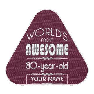 80th Birthday Worlds Best Fabulous Dark Red Maroon Bluetooth Speaker