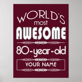 80th Birthday Worlds Best Fabulous Dark Red Print