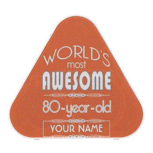 80th Birthday Worlds Best Fabulous Flame Orange Bluetooth Speaker