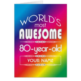 80th Birthday Worlds Best Fabulous Rainbow Greeting Card