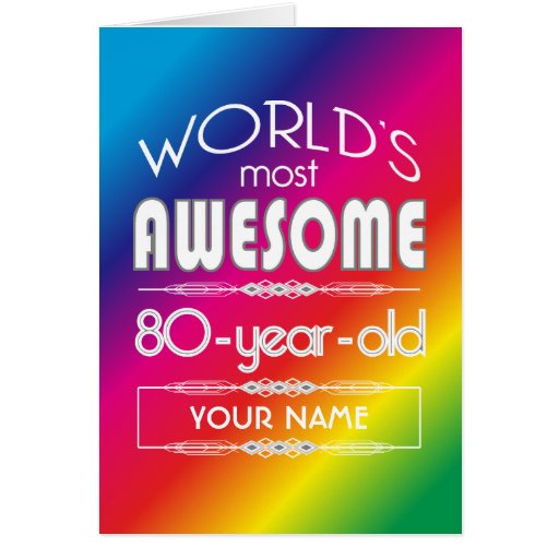 80th Birthday Worlds Best Fabulous Rainbow Greeting Card