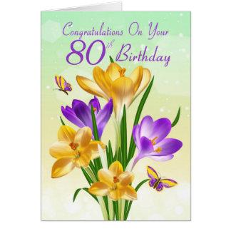 80th Birthday Yellow And Purple Crocus Greeting Card