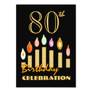 80th or Any Year Birthday Gold Candles Budget C09 11 Cm X 16 Cm Invitation Card