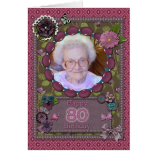 80th Photo card for a birthday