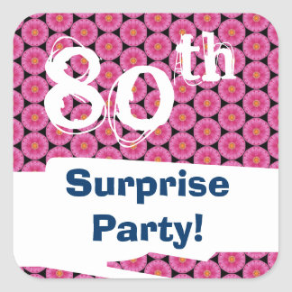 80th Surprise Birthday Party Pink Pattern Template Square Sticker