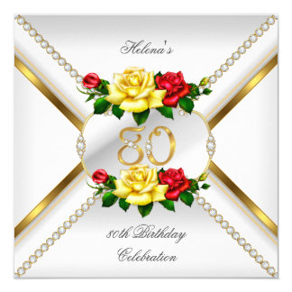 80th Women's Birthday Party Red Yellow Roses 13 Cm X 13 Cm Square Invitation Card