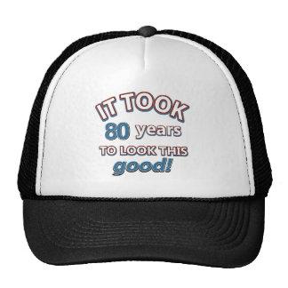 80th year birthday designs cap