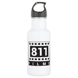 811 Films Logo 18oz white water bottle