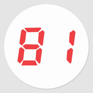 81 eighty-one red alarm clock digital number stickers
