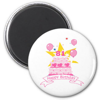 81 Year Old Birthday Cake 6 Cm Round Magnet