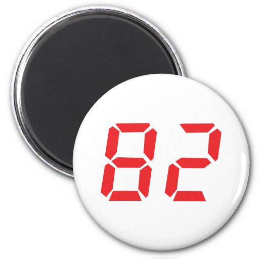 82 eighty-two red alarm clock digital number fridge magnets