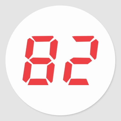 82 eighty-two red alarm clock digital number sticker