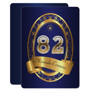 82nd,birthday party woman man,elegant color card