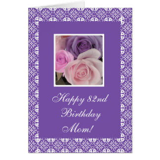 82nd birthday roses (change age) greeting card