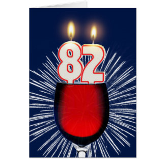 82nd Birthday with wine and candles Card