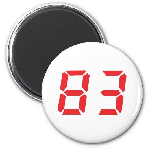 83 eighty-three red alarm clock digital number fridge magnets