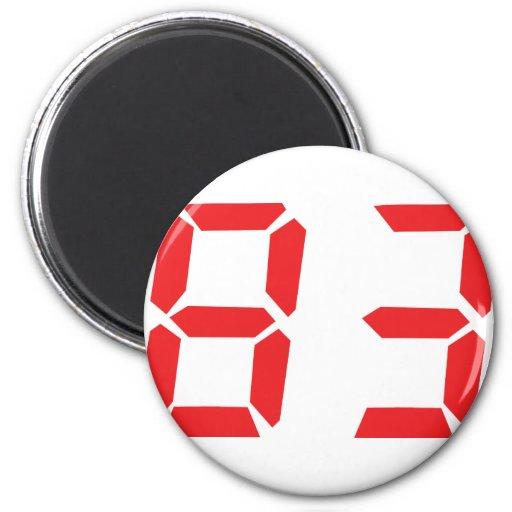 83 eighty-three red alarm clock digital number refrigerator magnet