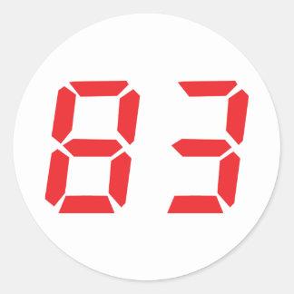 83 eighty-three red alarm clock digital number round stickers