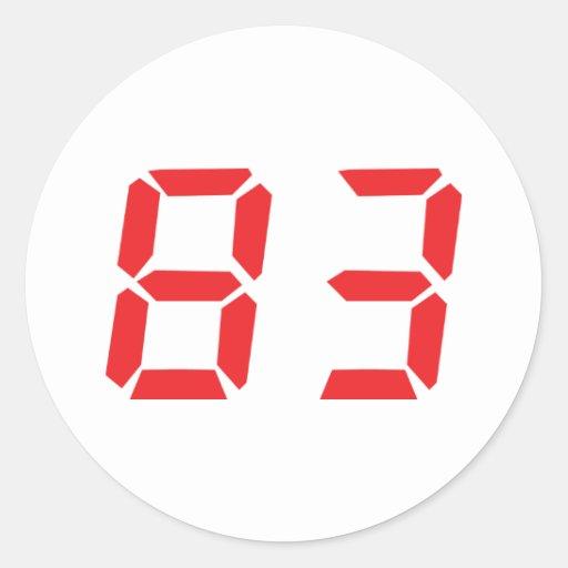 83 eighty-three red alarm clock digital number sticker