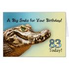 83rd Birthday card with a smiling alligator