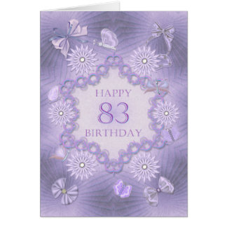 83rd birthday card with lavender flowers