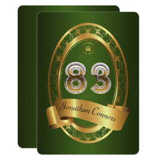 83rd,birthday party woman man,elegant color card