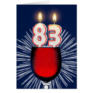83rd Birthday with wine and candles Card