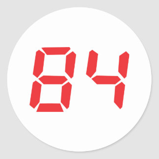 84 eighty-four red alarm clock digital number round stickers
