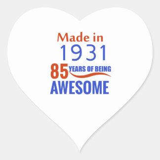85 birthday design heart sticker