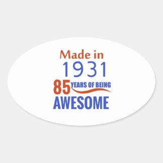 85 birthday design oval sticker