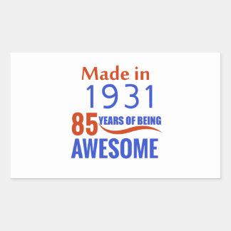 85 birthday design rectangular sticker