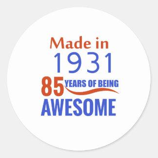 85 birthday design round sticker