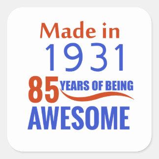 85 birthday design square sticker