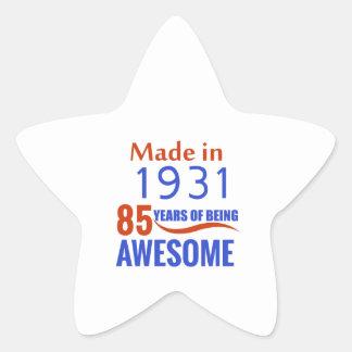 85 birthday design star sticker