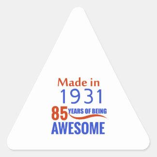 85 birthday design triangle sticker