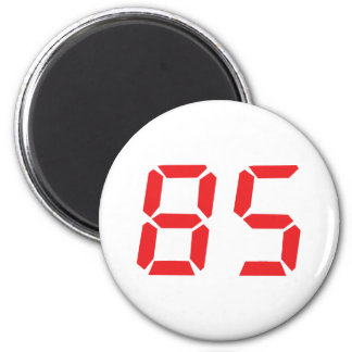85 eighty-five red alarm clock digital number 6 cm round magnet