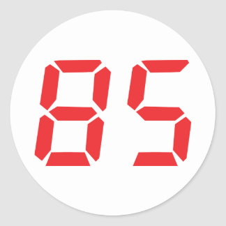 85 eighty-five red alarm clock digital number round sticker