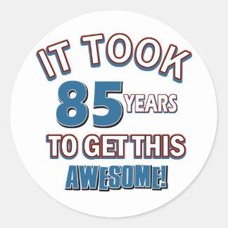 85 year old birthday designs round stickers