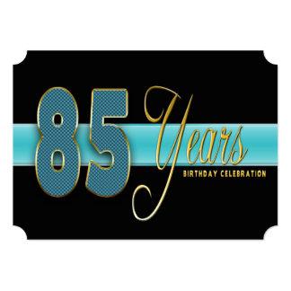 "85 YEARS BIRTHDAY PARTY INVITATION AQUA/BLACK 5"" X 7"" INVITATION CARD"