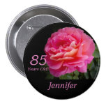 85 Years Old, Pink Rose Button Pin Pinback Buttons