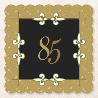85th (10-99) Nostalgic Birthday Vintage Art Deco Paper Coaster