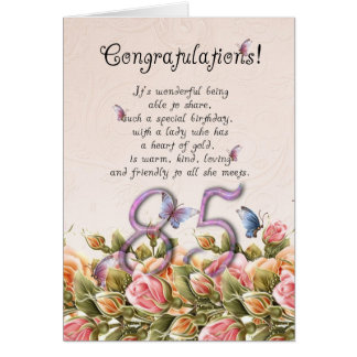 85th birthday card with butterflies and roses - co
